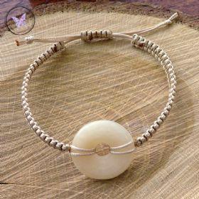 Aragonite Donut Macrame Bracelet